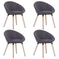 vidaXL Valgomojo kėdės, 4 vnt., tams. pilk. sp., audinys (2x283440)