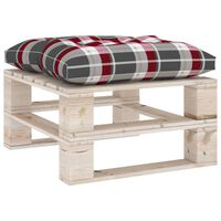 vidaXL Garden Pallet Ottoman with Red Check Pattern Cushion Pinewood (315824+314634)
