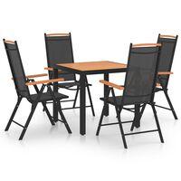 vidaXL Sodo valgomojo baldų komplektas, 5 dalių, juodas, aliuminis