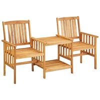 vidaXL Sodo kėdės su arbatos staliuku, 159x61x92cm, akacijos masyvas