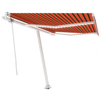vidaXL Markizė su LED/vėjo jutikliu, oranžinė/ruda, 350x250cm