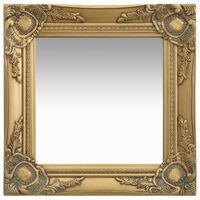 vidaXL Sieninis veidrodis, aukso spalvos, 40x40cm, barokinis stilius