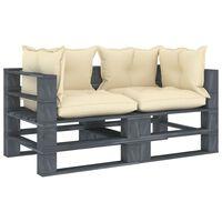 vidaXL Dvivietė sodo sofa iš palečių su kreminėmis pagalvėmis, mediena