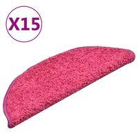 vidaXL Laiptų kilimėliai, 15vnt., rožinės spalvos, 56x17x3cm