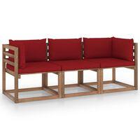 vidaXL Trivietė sodo sofa iš palečių su raudonomis pagalvėlėmis, eglė