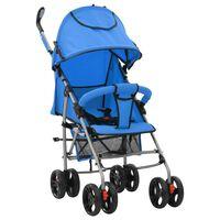 vidaXL Sulankstomas vaikiškas vežimėlis, mėlynas, plienas, 2-1