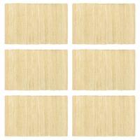 vidaXL Stalo kilimėliai, 6 vnt., vienspalv. smėlio, 30x45cm, medvilnė