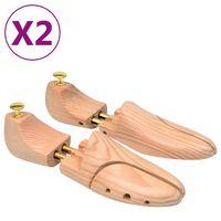 vidaXL Kurpaliai, 2 poros, pušies medienos masyvas, 44-45 dydžio