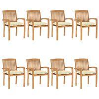 vidaXL Sudedamos sodo kėdės su pagalvėlėmis, 8vnt., tikmedžio masyvas