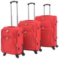 vidaXL Minkštų lagaminų su ratukais komplektas, 3vnt., raudonos sp.