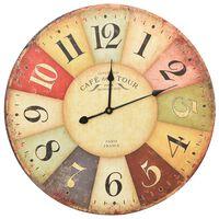 vidaXL Sieninis laikrodis, 60 cm, spalvotas, vintažinio dizaino