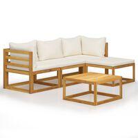 vidaXL Sodo baldų komplektas su pagalvėmis, 5d., rudas, akacija