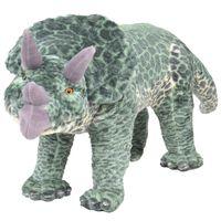 vidaXL Pastat. pliušin. žaislas dinozauras triceraptorius, žalias, XXL