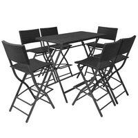 vidaXL Sul. lauko valg. baldų kompl., 7d., juodas, plienas ir polir.