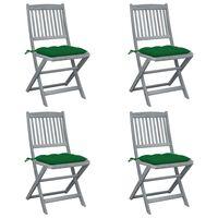 vidaXL Sulankstomos lauko kėdės su pagalvėmis, 4vnt., akacijos masyvas