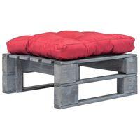 vidaXL Sodo otomanė iš paletės su raudona pagalve, pilka, mediena