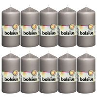 Bolsius Žvakės, 10vnt., šiltos pilkos, 120x58mm, cilindro formos