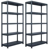 vidaXL Sandėliavimo lent., 2vnt., juod., 100x40x180cm, plast., 500kg