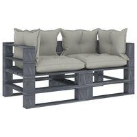 vidaXL Dvivietė sodo sofa iš palečių su taupe pagalvėmis, mediena