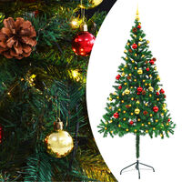 vidaXL Dirbtinė Kalėdų eglutė papuošta žaisliuk. ir LED, 180cm, žalia