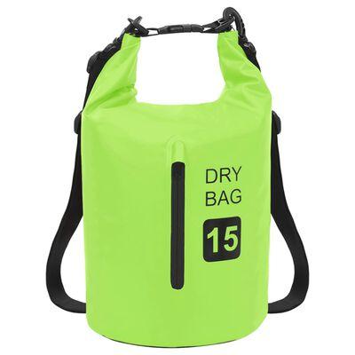 vidaXL Vandeniui atsparus krepšys su užtrauktuku, žalias, PVC, 15l