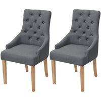 vidaXL Valgomojo kėdės, 2vnt., tamsiai pilkos, audinys