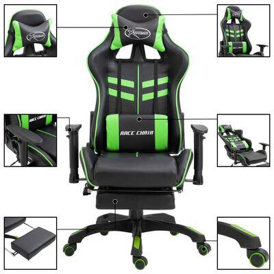 vidaXL Žaidimų kėdė su atrama kojoms, žalia, dirbtinė oda