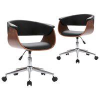 vidaXL Valgomojo kėdės, 2vnt., juodos, dirbtinė oda, pasukamos