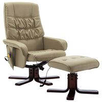 vidaXL Atlošiamas masažinis krėslas su pakoja, kapučino, dirbtinė oda
