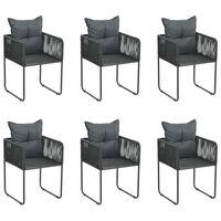 vidaXL Lauko kėdės su pagalvėmis, 6vnt., juodos spalvos, poliratanas