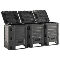 vidaXL Sodo komposto dėžė, juodos spalvos, 1200l