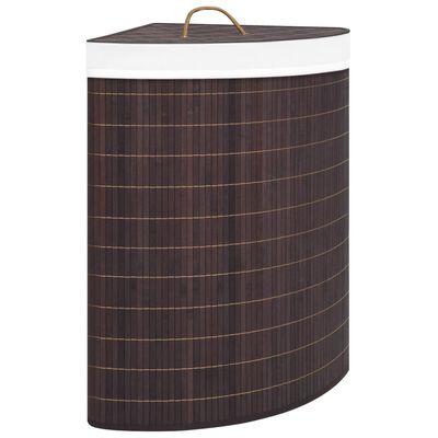 vidaXL Kampinis skalbinių krepšys, rudos spalvos, bambukas, 60l
