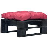 vidaXL Sodo otomanė iš paletės su raudona pagalve, juoda, mediena