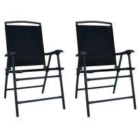 vidaXL Sulankstomos sodo kėdės, 2vnt., juodos spalvos, tekstilenas