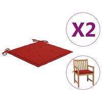 vidaXL Sodo kėdės pagalvėlės, 2vnt., raudonos spalvos, 50x50x4 cm