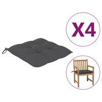 vidaXL Kėdės pagalvėlės, 4vnt., antracito spalvos, 50x50x7cm, audinys