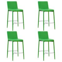 vidaXL Baro taburetės, 4 vnt., žalios spalvos, dirbtinė oda (2x281522)