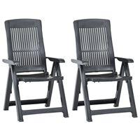 vidaXL Atlošiamos sodo kėdės, 2vnt., antracito spalvos, plastikas