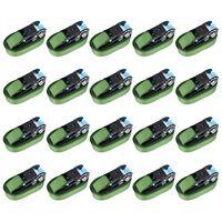 vidaXL Reketo tvirtinamieji dirželiai, 20vnt., žalios spalvos, 800daN