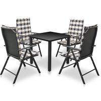 vidaXL Lauko valgom. baldų kompl. su pag., 5d., juod., polir., alium.