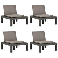 vidaXL Sodo poilsio kėdės su pagalvėlėmis, 4vnt., antracito, plastikas