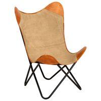 vidaXL Išskleidžiama kėdė, rudos spalvos, tikra oda ir audinys