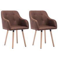 vidaXL Valgomojo kėdės, 2 vnt., rudos, audinys
