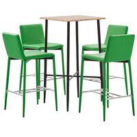 vidaXL Baro baldų komplektas, 5 dalių, žalios spalvos, dirbtinė oda