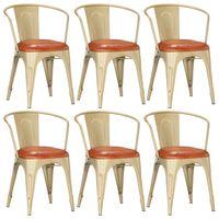 vidaXL Valgomojo kėdės, 6vnt., rudos spalvos, tikra oda (3x286606)