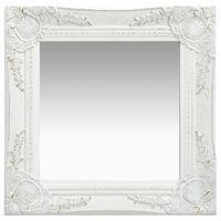 vidaXL Sieninis veidrodis, baltas, 40x40cm, barokinis stilius