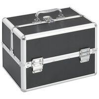 vidaXL Kosmetinis lagaminas, juodos spalvos, 22x30x21 cm, aliuminis