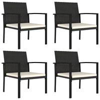 vidaXL Sodo valgomojo kėdės, 4vnt., juodos spalvos, poliratanas