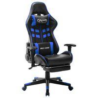 vidaXL Žaidimų kėdė su pakoja, juoda ir mėlyna, dirbtinė oda