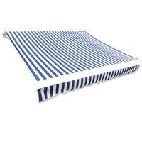 vidaXL Markizės viršus, mėlyna ir balta, 4x3m (rėmas nepridedamas)